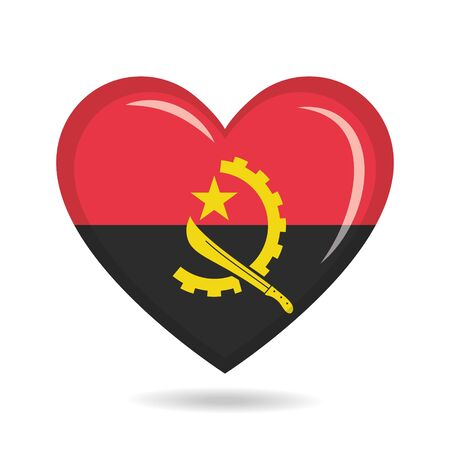 Angola national flag in heart shape vector illustration Ilustração