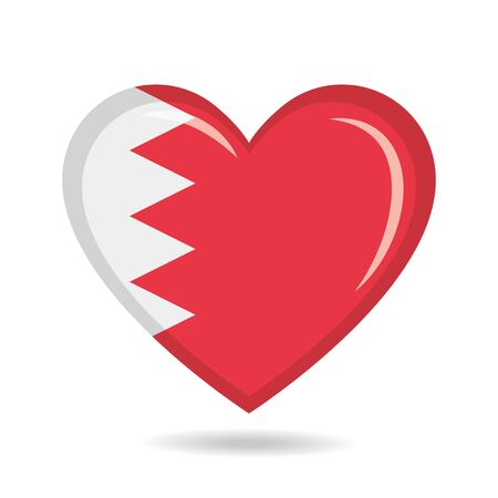 Bahrain national flag in heart shape vector illustration Illustration