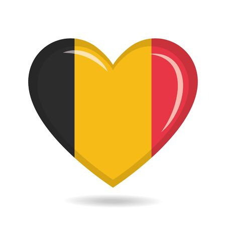 Belgium national flag in heart shape vector illustration