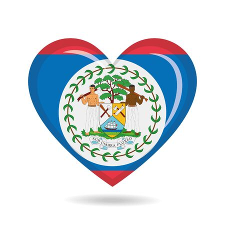 Belize national flag in heart shape vector illustration