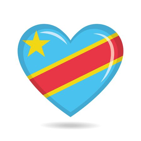 Democratic Republic of Congo national flag in heart shape vector illustration Ilustração