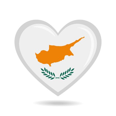 Cyprus national flag in heart shape vector illustration