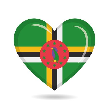 Dominica national flag in heart shape vector illustration