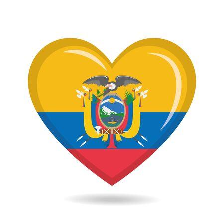 Ecuador national flag in heart shape vector illustration