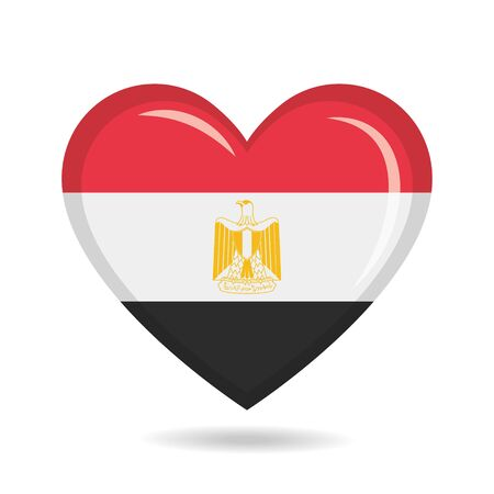 Egypt national flag in heart shape vector illustration Illustration