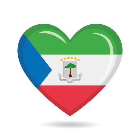 Equatorial Guinea national flag in heart shape vector illustration