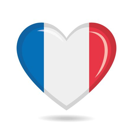 France national flag in heart shape vector illustration