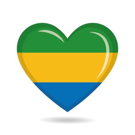 Gabon national flag in heart shape vector illustration