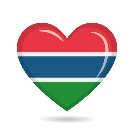 Gambia national flag in heart shape vector illustration