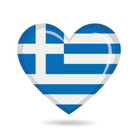 Greece national flag in heart shape vector illustration