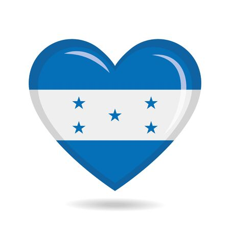 Honduras national flag in heart shape vector illustration Ilustração