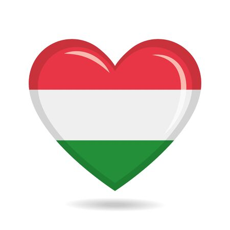Hungary national flag in heart shape vector illustration