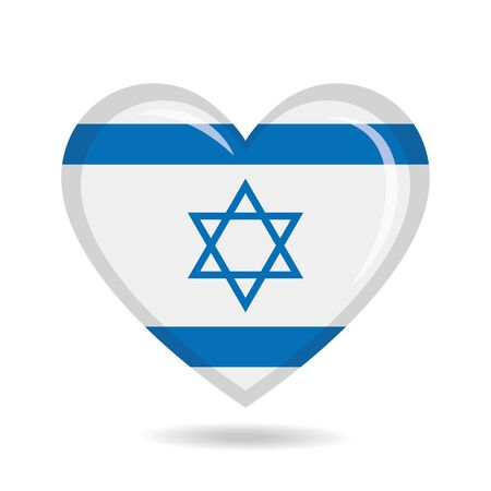 Israel national flag in heart shape vector illustration Illustration