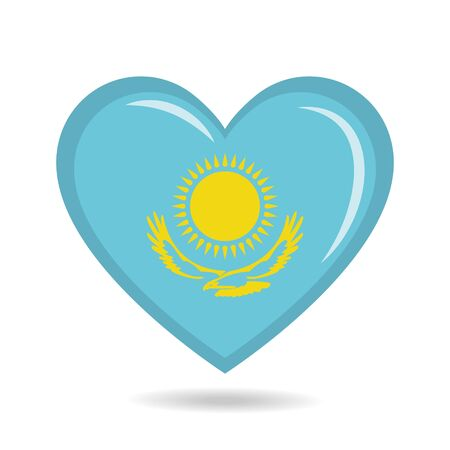 Kazakhstan national flag in heart shape vector illustration