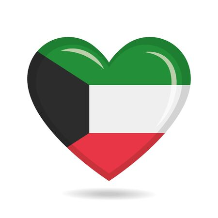 Kuwait national flag in heart shape vector illustration