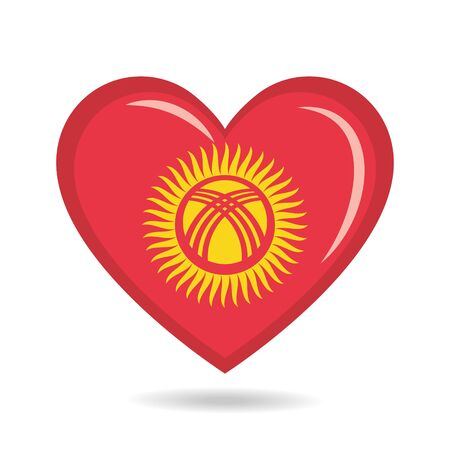 Kyrgyzstan national flag in heart shape vector illustration Illustration