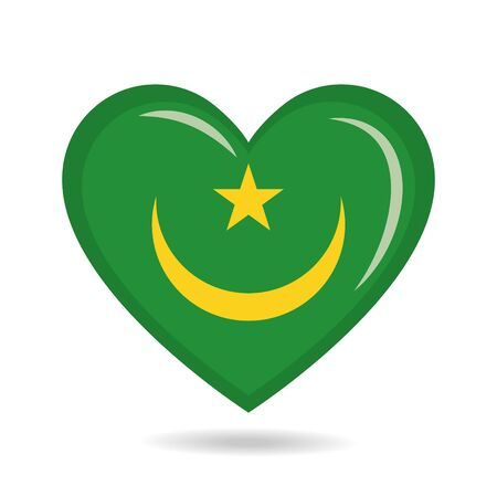 Mauritania national flag in heart shape vector illustration