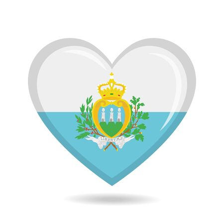 San Marino national flag in heart shape vector illustration