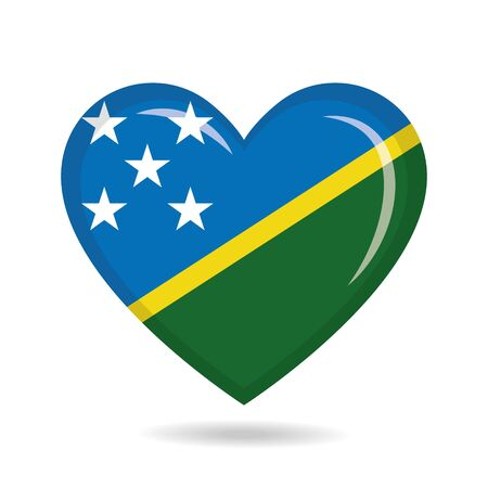 Solomon Islands national flag in heart shape vector illustration