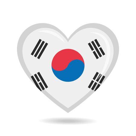 South Korea national flag in heart shape vector illustration
