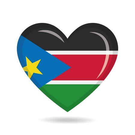 South Sudan national flag in heart shape vector illustration