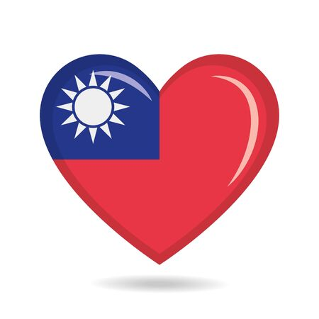 Taiwan national flag in heart shape vector illustration