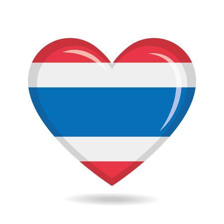 Thailand national flag in heart shape vector illustration