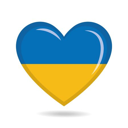 Ukraine national flag in heart shape vector illustration Ilustração