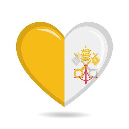 Vatican City national flag in heart shape vector illustration