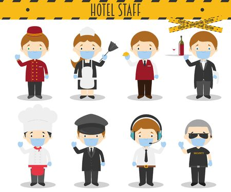 Covid 19 Health Emergency Special Edition: Vector Set of Hotel Staff Professions with surgical masks and latex gloves in cartoon style