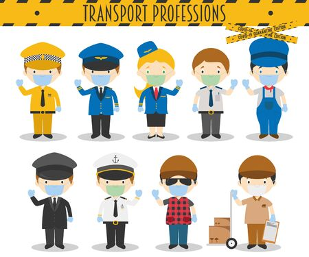 Covid 19 Health Emergency Special Edition: Vector Set of Transport Professions with surgical masks and latex gloves in cartoon style