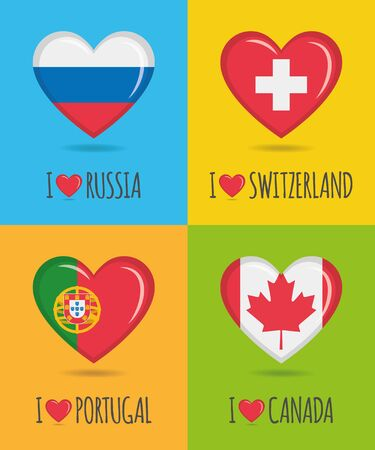 Loving and colorful posters of Russia, Switzerland, Portugal and Canada with heart shaped national flag and text Vector illustration