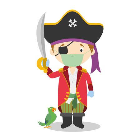 Cute cartoon vector illustration of a pirate with surgical mask and latex gloves as protection against a health emergency Çizim