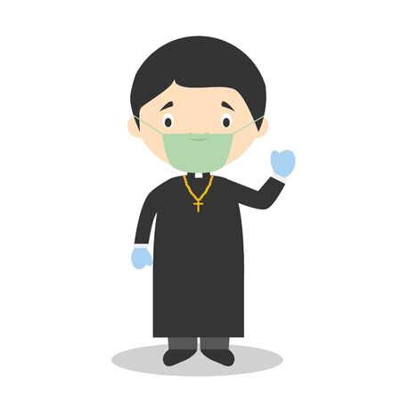 Cute cartoon vector illustration of a priest with surgical mask and latex gloves as protection against a health emergency