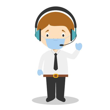Cute cartoon vector illustration of a telemarketing phone operator with surgical mask and latex gloves as protection against a health emergency Vector Illustratie