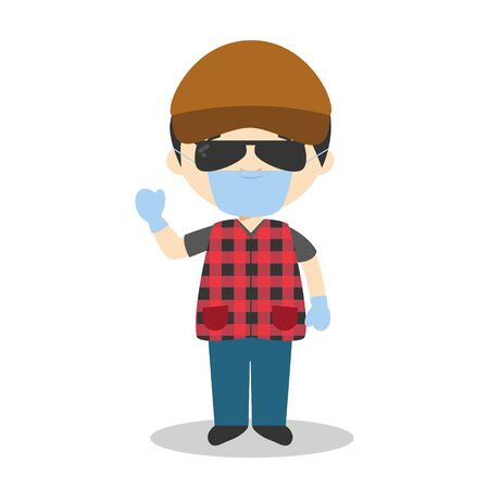 Cute cartoon vector illustration of a trucker with surgical mask and latex gloves as protection against a health emergency