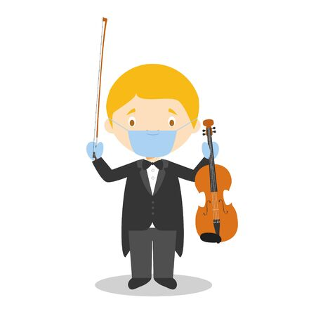 Cute cartoon vector illustration of a classic musician with surgical mask and latex gloves as protection against a health emergency