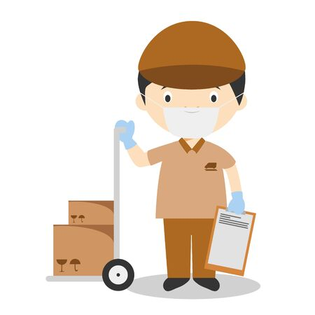 Cute cartoon vector illustration of a courier with surgical mask and latex gloves as protection against a health emergency