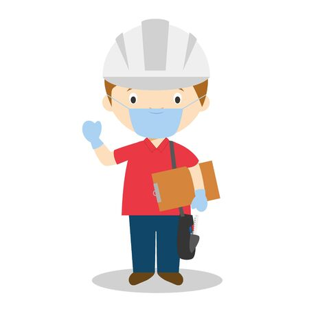 Cute cartoon vector illustration of an engineer with surgical mask and latex gloves as protection against a health emergency