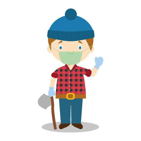 Cute cartoon vector illustration of a lumberjack with surgical mask and latex gloves as protection against a health emergency