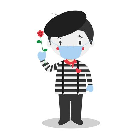 Cute cartoon vector illustration of a mime with surgical mask and latex gloves as protection against a health emergency Ilustración de vector