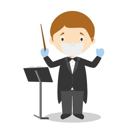 Cute cartoon vector illustration of an orchestra director with surgical mask and latex gloves as protection against a health emergency Vettoriali