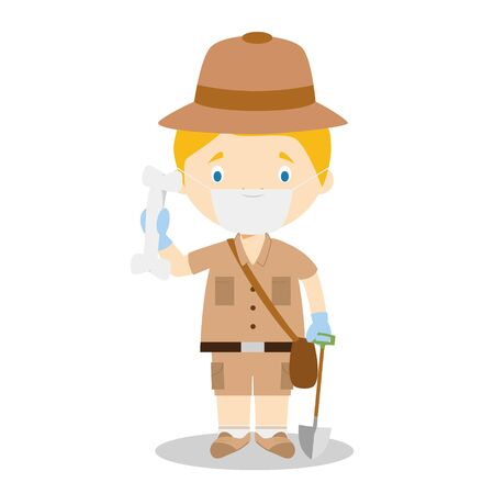 Cute cartoon vector illustration of an archaeologist with surgical mask and latex gloves as protection against a health emergency