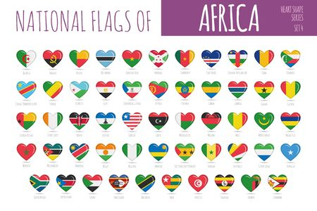 Set of 54 heart shaped flags of the countries of Africa. Icon set Vector Illustration.