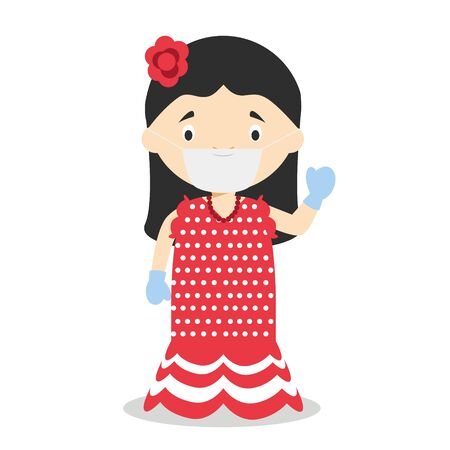 Character from Spain dressed in the traditional way as a flamenco dancer and with surgical mask and latex gloves as protection against a health emergency