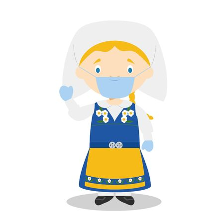 Character from Sweden dressed in the traditional way and with surgical mask and latex gloves as protection against a health emergency
