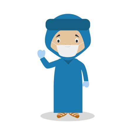 Character from Algeria dressed in the traditional way of the Blue Desert Men and with surgical mask and latex gloves as protection against a health emergency