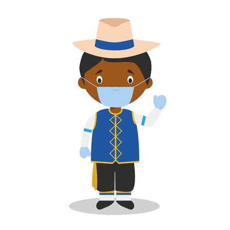 Character from Barbados dressed in the traditional way and with surgical mask and latex gloves as protection against a health emergency Vettoriali