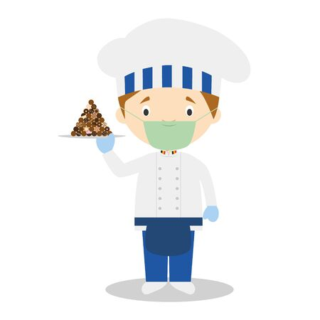 Pastry Chef Character with chocolates typical of Belgium and with surgical mask and latex gloves as protection against a health emergency