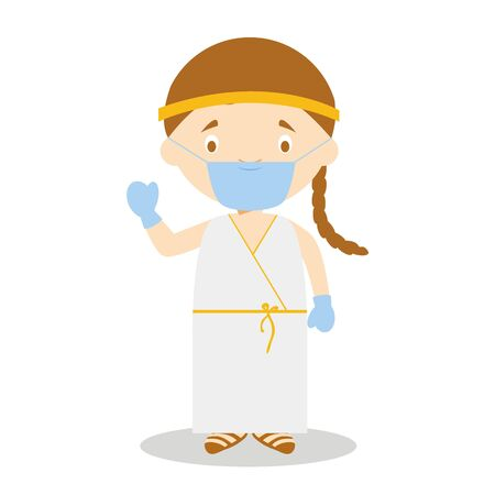 Character from Greece dressed in the traditional way of the Classical Greece and with surgical mask and latex gloves as protection against a health emergency